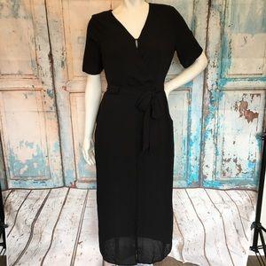 NWT SIENNE SKY Black Midi Flowy Faux Wrap Dress